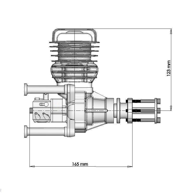 Dle 55 dle55 two stroke petrol engine for Dle 30 mounting template